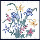 Rare Spring Iris Garden Counted Cross Stitch Kit Columbine Lilies