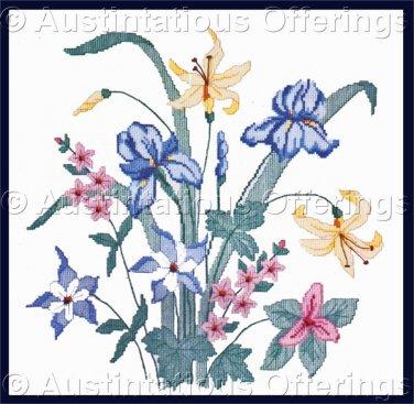 Rare Spring Iris Garden Counted Cross Stitch Kit Columbine Lilies