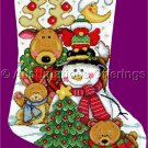 Elliott Wintry Friends Cross Stitch Christmas Stocking Kit Reindeer Snowman