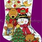 Elliott Wintry Friends Cross Stitch Christmas Stocking Kit Reindeer Snowman