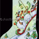 Michael Stoebner Folk Art Snowmen Cross Stitch Stocking Kit Christmas Sledding Winter Cheer