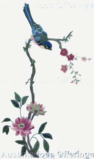 RARE WILLIAMS TRADITIONAL ORIENTAL BIRD BLOSSOMS CREWEL EMBROIDERY KIT