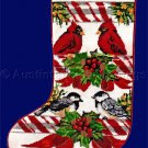 Rare Winter Birds Wool Needlepoint Stocking Kit Redbirds Chickadees CandyCanes Holly