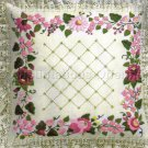 Rare Williams Lace Edge Pillow Crewel Embroidery Kit Pink and Burgundy Rose Trellis