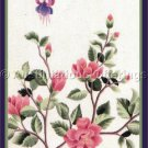 RARE WILLIAMS FUCHSIA BLOSSOMS CREWEL EMBROIDERY KIT AZALEA BRANCH BUTTERFLY