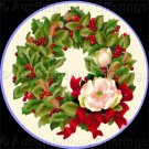 Rare Judy Hand Winter Holiday Wreath Magnolia and Holly Crewel Embroidery Kit Pillow/Picture