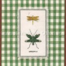 Green and Gold Dragonfly Duo Cross Stitch Kit Decorative Mat Charm Nature Collection