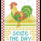 Country Rooster Stamped Cross Stitch Kit Morning Call Seize the Day