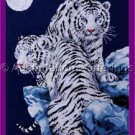 Dramatic White Tiger Pair Cross Stitch Kit Kayomi Harai Artwork Reproduction Moonlight Tigers