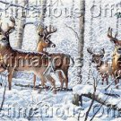 Persis Clayton Weirs Artwork Reproduction Snow Covered Bucks CrossStitch Kit Wintry Deer