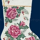 Rare Pink Christmas Roses and Holly Cross Stitch Stocking Kit