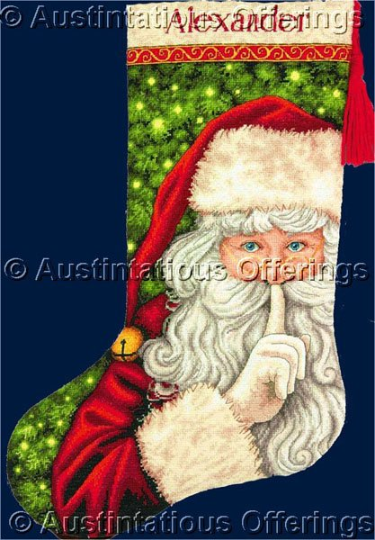 Patricia Pinto Secretive Santa Claus Gold Collection Counted Cross Stitch Christmas Stocking Kit