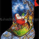 Tom Newsom Santas Reindeer Sleigh Gold Collection Counted Cross Stitch Christmas Stocking Kit