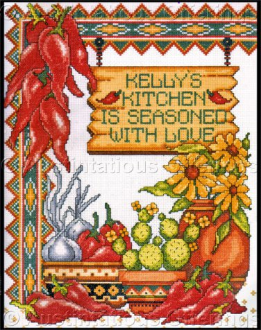 Rare Knopp Southwest Chilis Cross Stitch Kit Kitchen Seasoned with Love