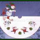 Schussing Snowman and Santa Counted Cross Stitch Tree Skirt  Kit  Skiing Frosty Friend