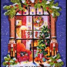 Nancy Rossi Christmas Warmth Art Repro Cross Stitch Kit Window View