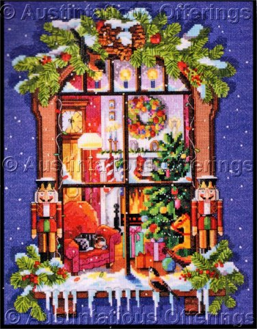 Nancy Rossi Christmas Warmth Art Repro Cross Stitch Kit Window View