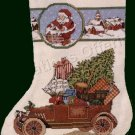 RARE SANTA'S CHRISTMAS DELIVERY CAR CROSS STITCH STOCKING KIT