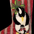 Rare Penguin Pair Openwork Needlepoint Christmas Stocking Kit