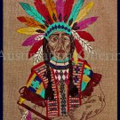 Rare Native American Chieftain in Vibrant Regalia Headdress Crewel Embroidery Kit