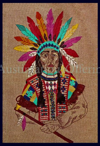 Rare Native American Chieftain in Vibrant Regalia Headdress Crewel Embroidery Kit