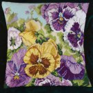 GLORIOUS GOLD AND PURPLE PANSIES NEEDLEPOINT PILLOW KIT