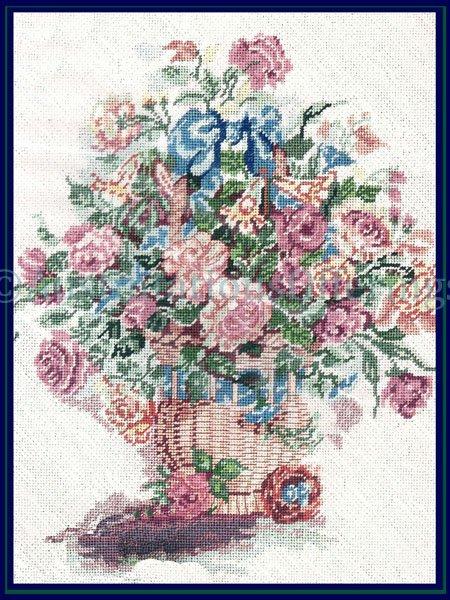 WYATT SPRING FLORAL BASKET NEEDLE POINT KIT MOTHERS DAY FLOWER BASKET