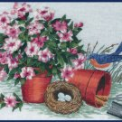 Rare Springtime Bluebird Nest  Crewel Embroidery Kit Gardening Tools and Petunias