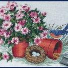 Rare Springtime Bluebird Nest  Crewel Embroidery Kit Gardening Tools and Petunias