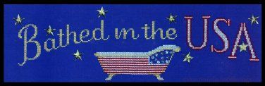 Rare Becca Barton Flag on Clawfoot Tub Cross Stitch Kit USA Bathtub Patriotic Bathing