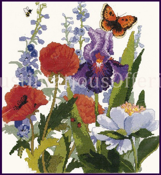 VIBRANT SUMMER GARDEN FLORAL CROSS STITCH KIT IRISES POPPIES DELPHINIUMS