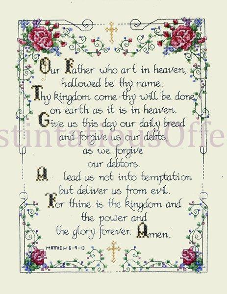 INSPIRATIONAL BIBLE VERSES CROSS STITCH KIT MATTHEW 6-9:13 LORDS PRAYER