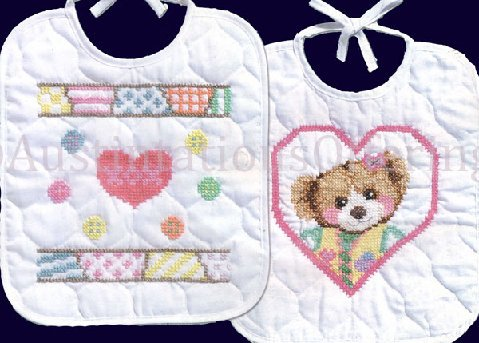 Marjorie Sarnat Patchwork Bear Bib Set Stamped Cross Stitch Kit