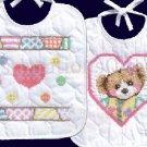 Marjorie Sarnat Patchwork Bear Bib Set Stamped Cross Stitch Kit