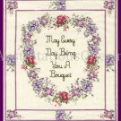 SANDi PHIPPS FLORAL CROSS STITCH SAMPLER KIT BRING YOU BOUQUET