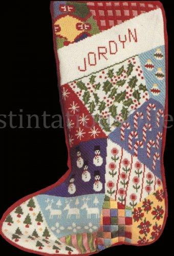 Rare Conn Baker Gibney Crazy Quilt Needlepoint Stocking Kit Patchwork  Christmas Sock