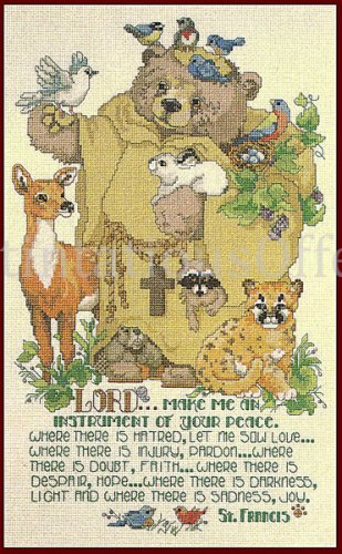 Rare Gillum Inspirational St Francis with Woodland Friends Counted Cross Stitch Kit
