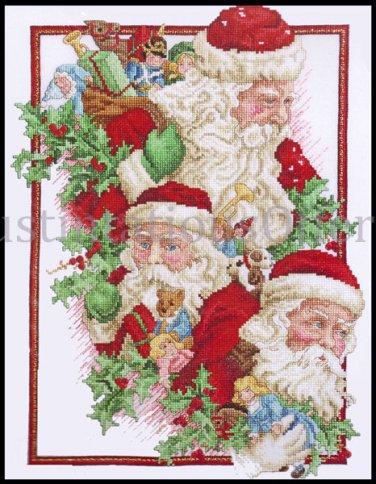 Rare Giampa Three Views of Father Christmas Cross Stitch Kit Santa Claus with Sack of Toys