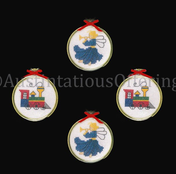 Yuletide Ornament Set Christmas Steam Train And Herald Angel with Horn Cross Stitch Kit