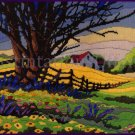 RARE REINARDY NOSTALGIC FARM  LONGSTITCH NEEDLEPOINT KIT FIELDS IN SPRING