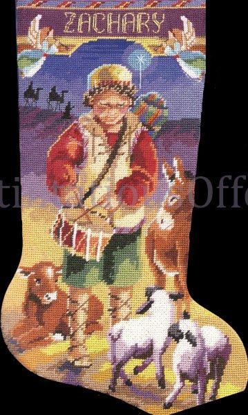RARE CHRISTMAS NEEDLEPOINT STOCKING KIT LITTLE DRUMMER BOY NANCY ROSSI