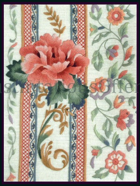 Rare Judy Hand Traditional Rose Scrolling Flourish Crewel Embroidery Kit