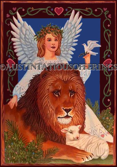 Rare Tapestry Tent Inspirational Needlepoint Canvas Liz Lion Lamb Guardian Angel Dove