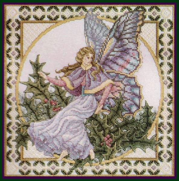 Rare Teresa Wentzler Seasons Fairy Cross Stitch Kit Winter Holly Faerie