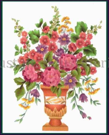 Elsa Williams Classic Formal Garden Spray Bouquet Crewel Embroidery Kit Clay Vase Michael LeClair