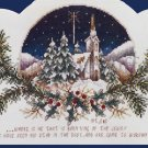 Rare Inspirational Vintage Postcard Style Cross Stitch Kit Wintry Village Bible Verse Matthew 2:2