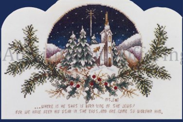 Rare Inspirational Vintage Postcard Style Cross Stitch Kit Wintry Village Bible Verse Matthew 2:2