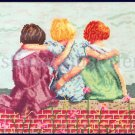 Rare Diana Thomas art Repro Nostalgic Childhood Friends Cross Stitch Friends of Youth