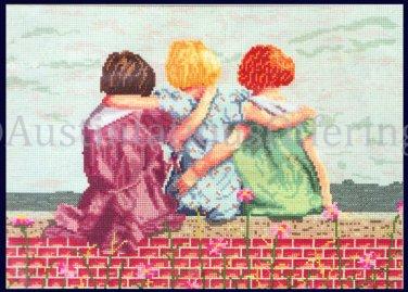 Rare Diana Thomas art Repro Nostalgic Childhood Friends Cross Stitch Friends of Youth