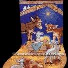 Rare Inspirational Powell Manger Scene Needlepoint Stocking Kit Animal Nativity Christ Child